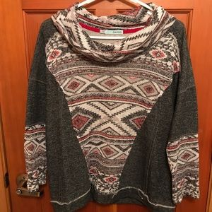 Maurices Aztec/tribal print cowl neck sweater